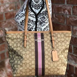 65e964d8cc79 ... Coach center stripe signature tote bag dark khaki ...